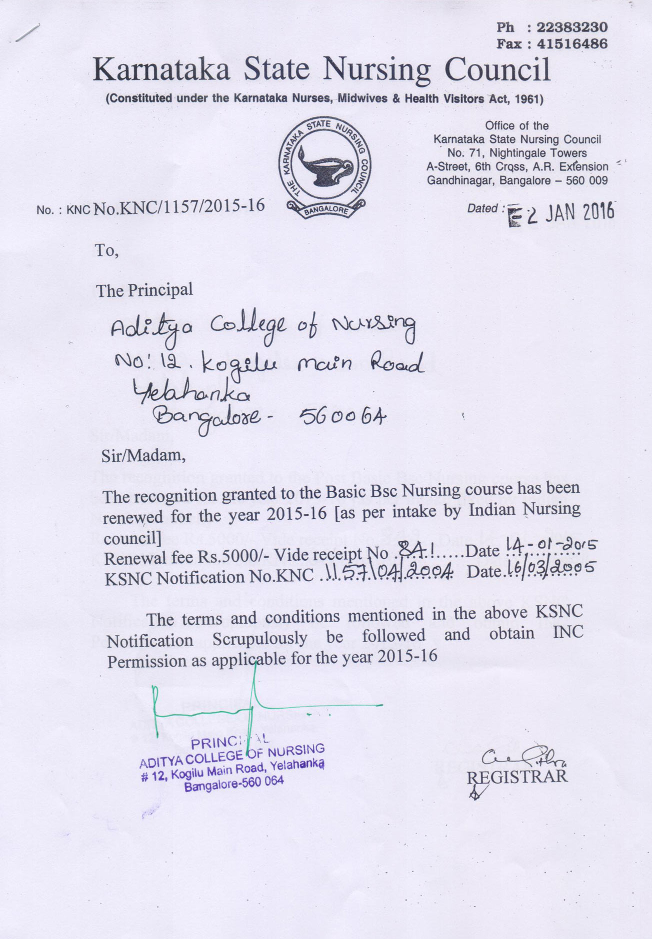 Approved by Karnataka State Nursing Council