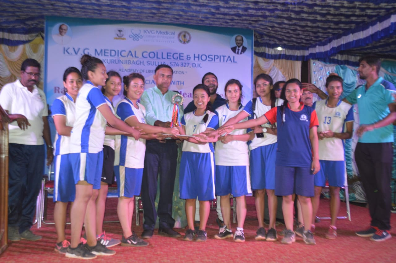 Aditya girls volleyball team receiving Trophy